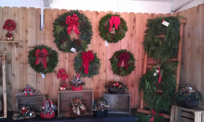 [Image: We have a wide selection of custom made wreaths that are read to take home today. You will find a variety of sizes from smaller wreaths to bulky big wreaths. ]